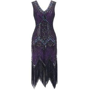 Flapper Dress 1920s V Neck Beaded Fringed Gatsby T